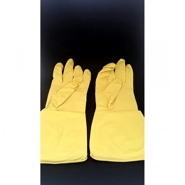 Yellow Flock Lined Gloves 1