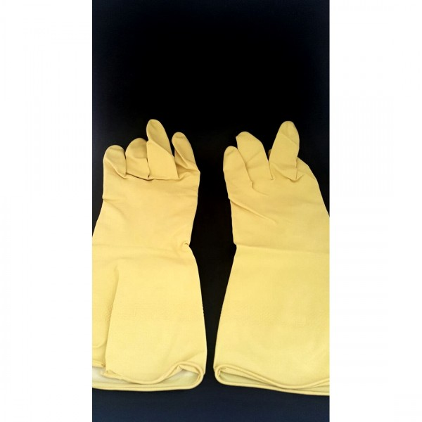 Yellow Flock Lined Gloves 2